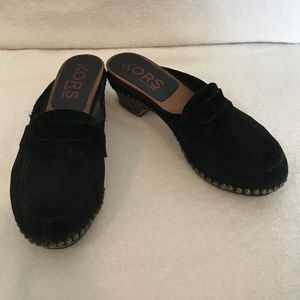 Micheal Kors Black Suede Wooden Clogs